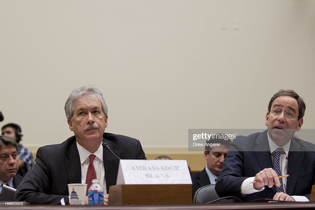 Deputy Secretary of State William Burns (L) and Deputy Secretary of State for Management and Resources Thomas Nides (R) testify during the House Foreign Affairs Committee on the September 11th attack in Benghazi against the U.S. consulate, on Capitol Hill, December 20, 2012 in Washington, DC. Secretary of State Hillary Clinton was scheduled to testify, but was unable to attend due to an illness.