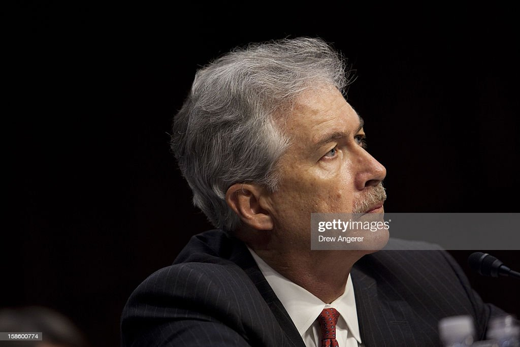 Deputy Secretary of State William Burns listens during his testimony during the Senate Foreign Relations Committee hearing on the September 11th attacks on the U.S. Consulate in Benghazi, on Capitol Hill, December 20, 2012 in Washington, DC. Secretary of State Hillary Clinton had planned to testify at the hearing, but could not attend due to an illness.