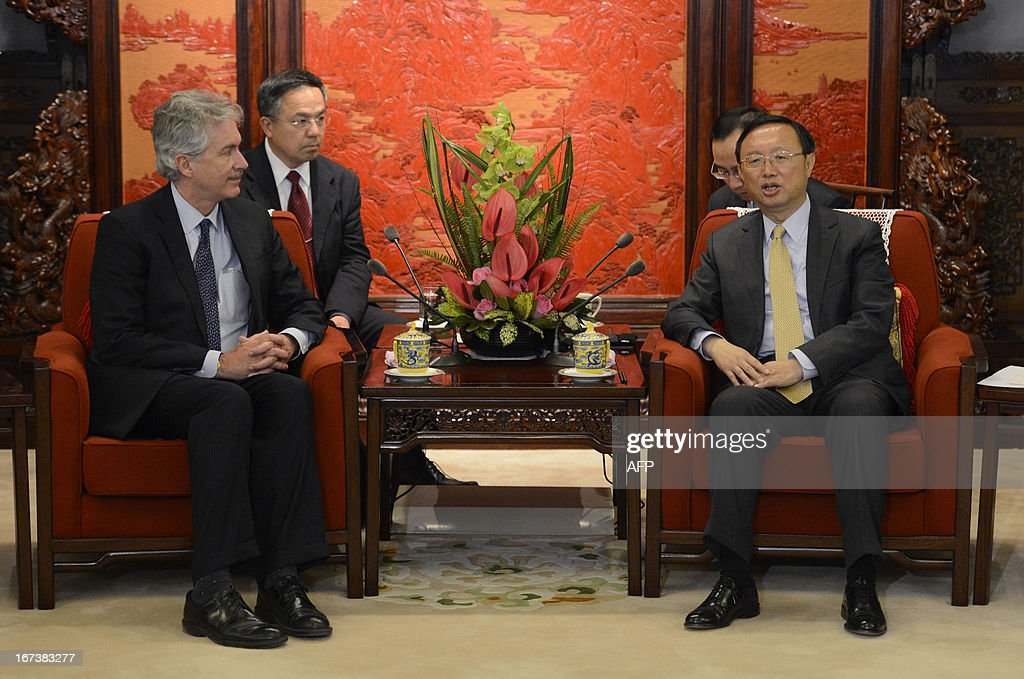 US deputy secretary of state William Burns (L) meets with Chinese state councilor Yang Jiechi during their meeting at the Zhongnanhai compound in Beijing on April 25, 2013.
