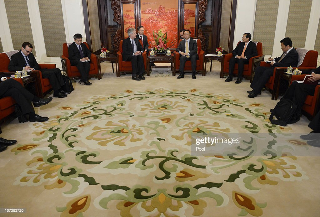 U.S. Deputy Secretary of State William Burns (Center L) talks with Chinese state councilor Yang Jiechi (Center R) during their meeting at the zhongnanhai on April 25, 2013 in Beijing, China. Burns is on a two-day visit to China to speak with officials on China-US relations.
