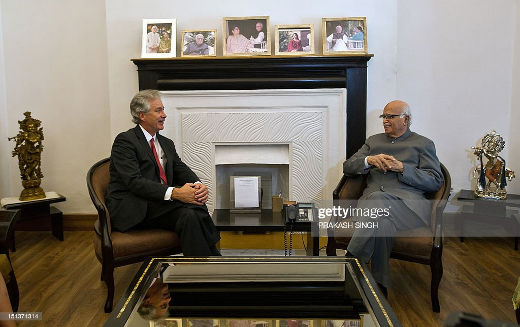 US Deputy Secretary of State William Burns (R) talks with opposition Bhartiya Janata Party (BJP) senior leader L.K. Advani during a meeting in New Delhi on October 19, 2012. Burns is in India to hold talks on a wide range of bilateral, regional and global issues with top officials of the country. AFP PHOTO/ Prakash SINGH