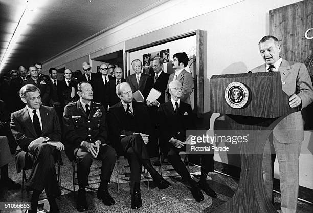 Deputy secretary of the US Department of Defense American politician William P Clements stands at a podium and delivers the dedication of George C...