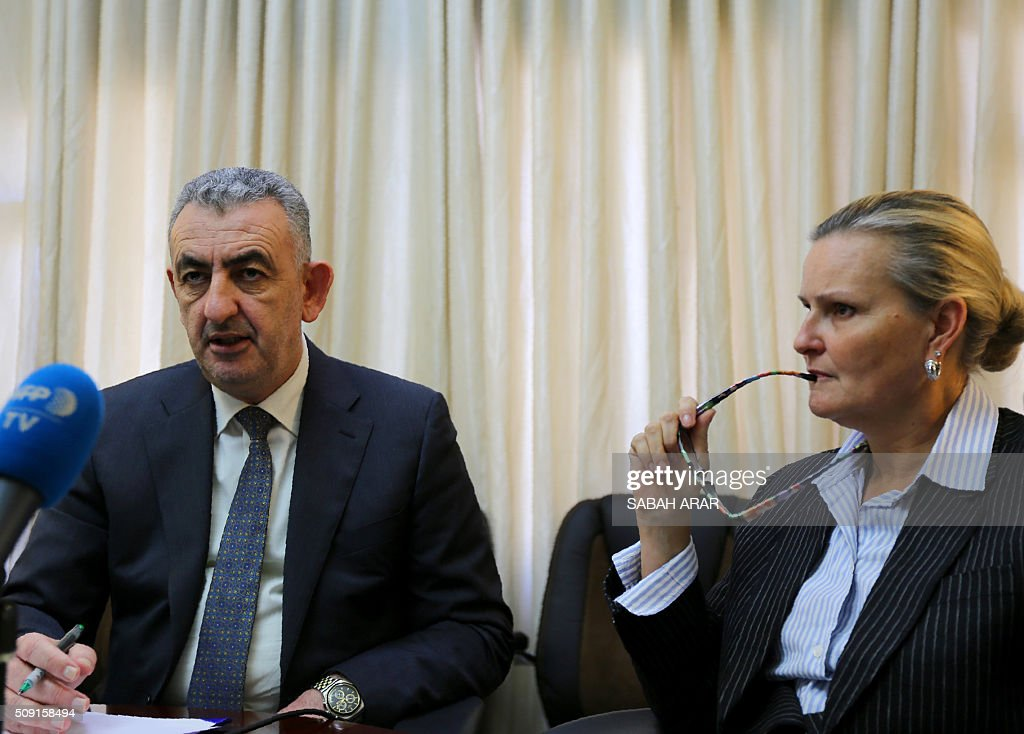 Deputy Special Representative of the UN humanitarian coordinator in Iraq Lise Grande (R) and Suhaib al-Rawi, Iraqi governor of the Anbar province, give a press conference in Baghdad on February 9, 2016 in which they spoke about the reconstruction of Ramadi, the capital of Anbar province west of Baghdad. Months of fighting in Ramadi have caused extensive destruction, officials said, warning that it was too soon for civilians to return to the Iraqi city after its recapture from jihadists. ARAR