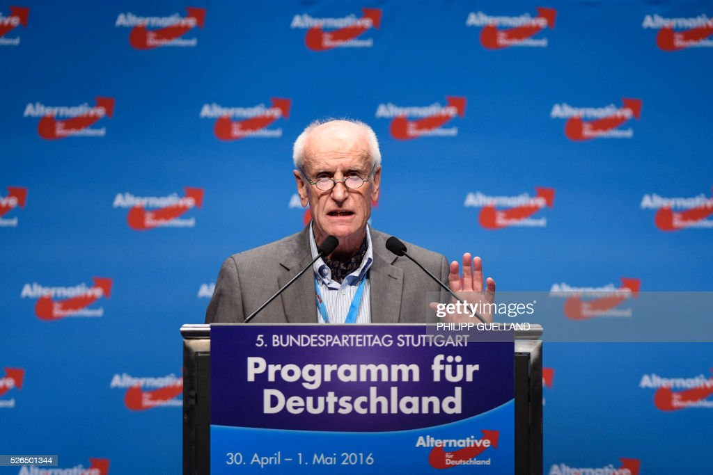 AFD deputy spokesperson and the party's candidate for the presidential election 2017 Albrecht Glaser delivers a speech during a party congress of the German right wing party AfD (Alternative fuer Deutschland) at the Stuttgart Congress Centre ICS on April 30, 2016 in Stuttgart, southern Germany. The Alternative for Germany (AfD) party is meeting in the western city of Stuttgart, where it is expected to adopt an anti-Islamic manifesto, emboldened by the rise of European anti-migrant groups like Austria's Freedom Party. / AFP / Philipp GUELLAND