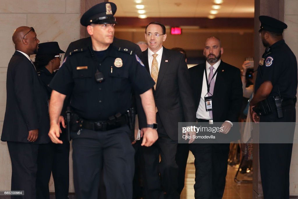 Deputy U.S. Attorney General Rod Rosenstein (C) arrives for a closed-door briefing with members of the House of Representatives at the U.S. Capitol May 19, 2017 in Washington, DC. Rosenstein met with senators a day earlier and was questioned about his role in the firing of former FBI Director James Comey and his appointment of former FBI Director Robert Mueller as a special counsel to investigate Russian meddling in the 2106 presidential election.