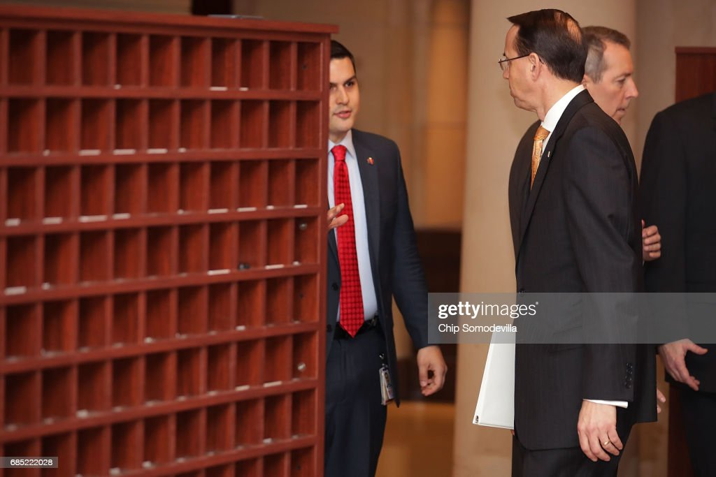 Deputy U.S. Attorney General Rod Rosenstein (R) arrives for a closed-door briefing with members of the House of Representatives at the U.S. Capitol May 19, 2017 in Washington, DC. Rosenstein met with senators a day earlier and was questioned about his role in the firing of former FBI Director James Comey and his appointment of former FBI Director Robert Mueller as a special counsel to investigate Russian meddling in the 2106 presidential election.