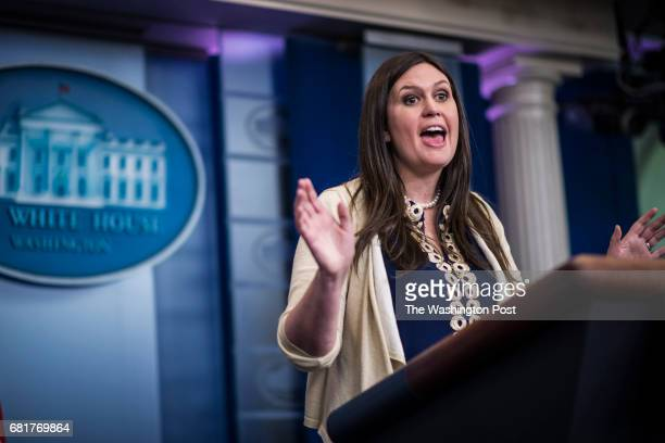 Deputy White House press secretary Sarah Huckabee Sanders speaks during the daily briefing at the White House in Washington DC on Wednesday May 10...