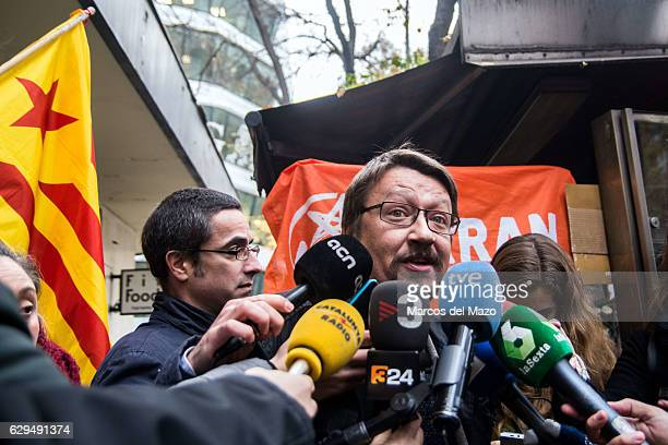 Deputy Xavier Domenech speaking to the press about the pro independence activists who are questioned in the Spanish National Court for the burning of...