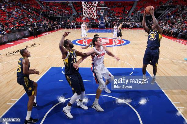 DeQuan Jones of the Indiana Pacers grabs the rebound against the Detroit Pistons on October 9 2017 at Little Caesars Arena in Detroit Michigan NOTE...