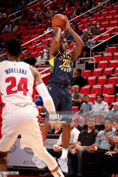 DeQuan Jones of the Indiana Pacers shoots the ball against the Detroit Pistons on October 9 2017 at Little Caesars Arena in Detroit Michigan NOTE TO...
