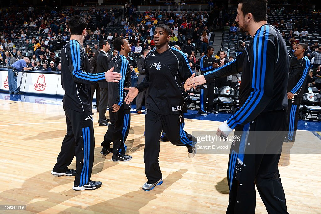 <a gi-track='captionPersonalityLinkClicked' href=/galleries/search?phrase=DeQuan+Jones&family=editorial&specificpeople=5626127 ng-click='$event.stopPropagation()'>DeQuan Jones</a> #20 of the Orlando Magic gets introduced; before the game against the Denver Nuggets on January 9, 2013 at the Pepsi Center in Denver, Colorado.
