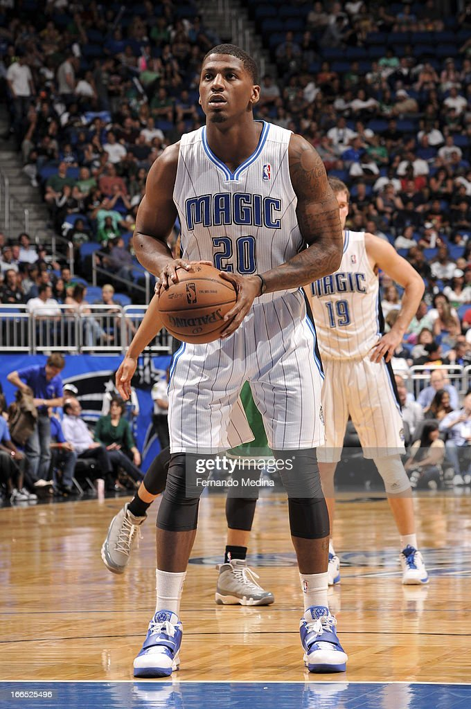 <a gi-track='captionPersonalityLinkClicked' href=/galleries/search?phrase=DeQuan+Jones&family=editorial&specificpeople=5626127 ng-click='$event.stopPropagation()'>DeQuan Jones</a> #20 of the Orlando Magic shoots a foul shot against the Boston Celtics during the game on April 13, 2013 at Amway Center in Orlando, Florida.