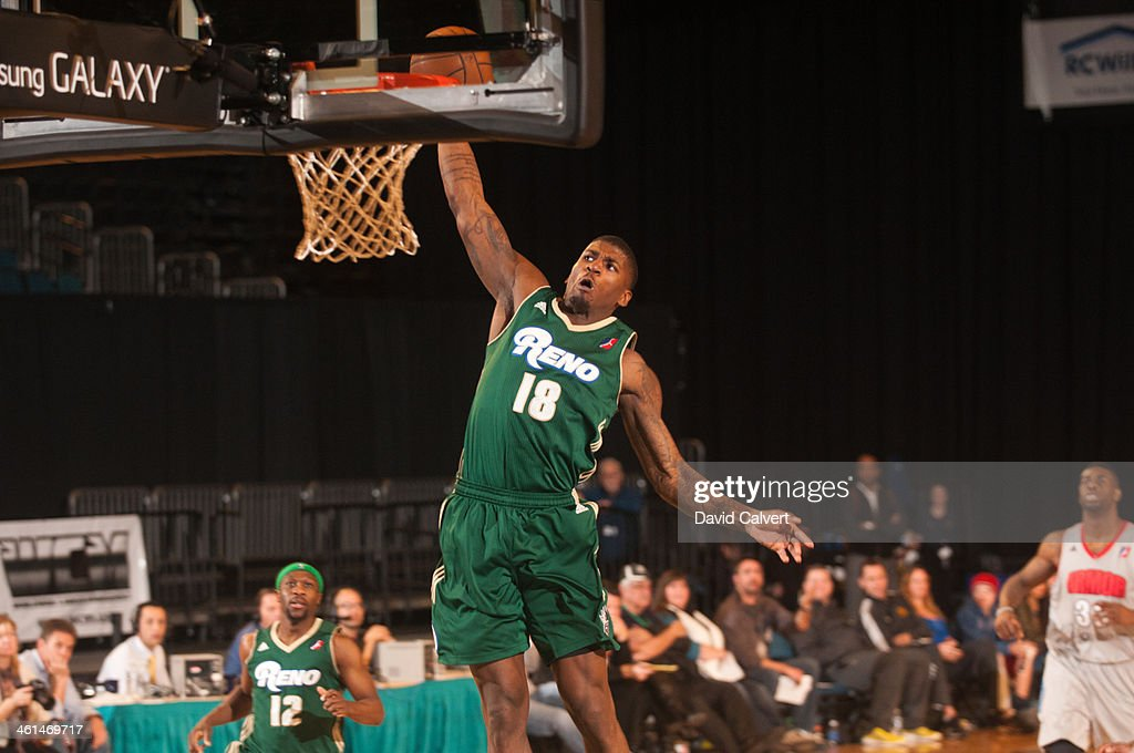 <a gi-track='captionPersonalityLinkClicked' href=/galleries/search?phrase=DeQuan+Jones&family=editorial&specificpeople=5626127 ng-click='$event.stopPropagation()'>DeQuan Jones</a> #18 of the Reno Bighorns dunks against the Springfield Armor during the 2014 NBA D-League Showcase on January 8, 2014 at the Reno Events Center in Reno, Nevada.