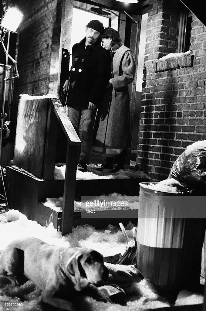 BLUES 'Der Roachenkavalier' Episode 714 Pictured Bruce Weitz as Det Mick Belker Lisa Sutton as Robin TattagliaBelker