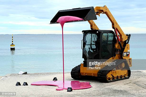 'Der Traktor' by artist Markus Hofer is seen during Sculpture By The Sea 2016 at Cottesloe Beach on March 19 2016 in Perth Australia