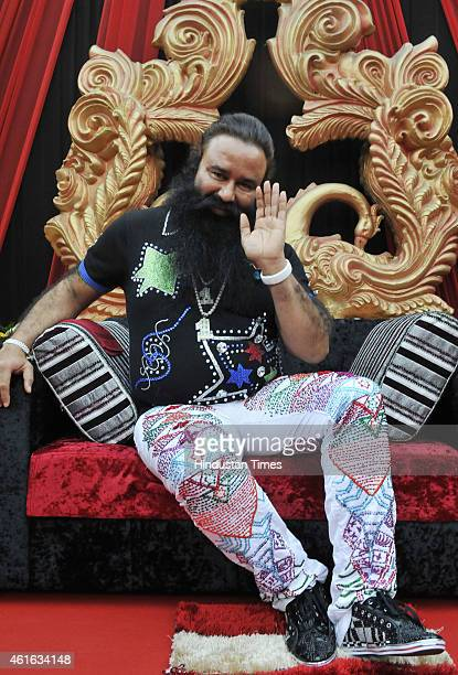 Dera Saccha Sauda chief Gurmeet Ram Rahim Singh for promotion of his movie MSG The Messenger of God at Leisure Valley Ground on January 16 2015 in...