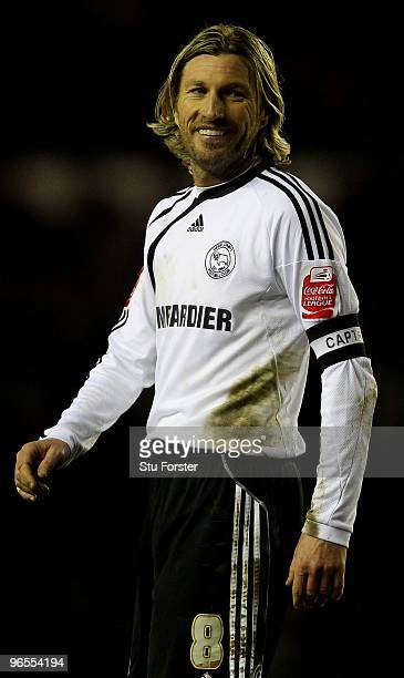 Derby captain Robbie Savage raises a smile during the CocaCola Championship match between Derby County and Newcastle United at Pride Park on February...