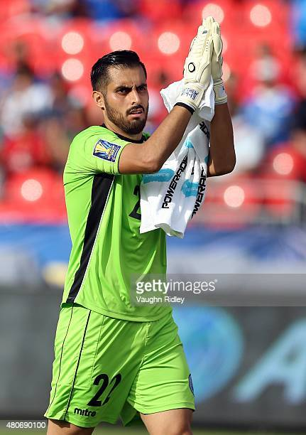 Derby Carrillo of El Savador applauds the crowd prior to the 2015 CONCACAF Gold Cup Group B match between Jamaica and El Salvador at BMO Field on...