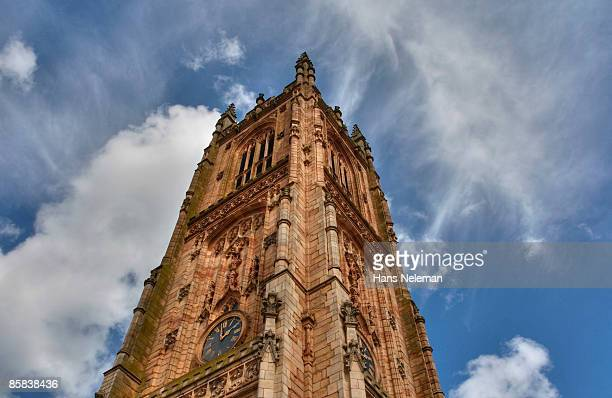 Derby Cathedral tower against the blue sky, UK.
