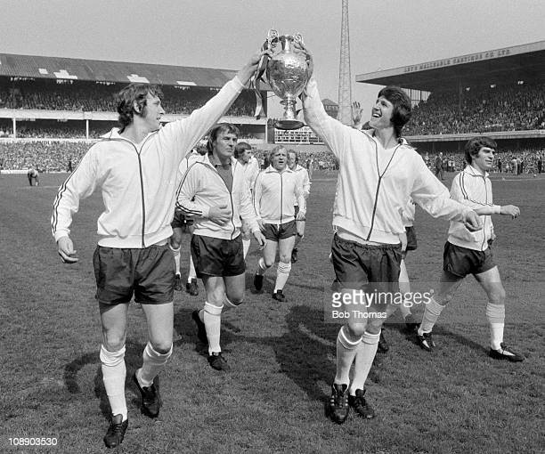 Derby County celebrate after receiving the First Division League Championship trophy following their match against Carlisle United at the Baseball...