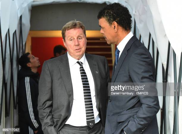Derby County Football Advisor Harry Redknapp chats with Sky Sports pundit Chris Kamara before the game