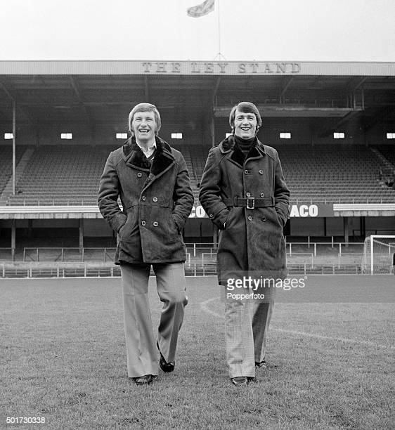 Derby County footballers Colin Todd and Bruce Rioch modeling sheepskin coats at the Baseball Ground in Derby on 10th October 1974