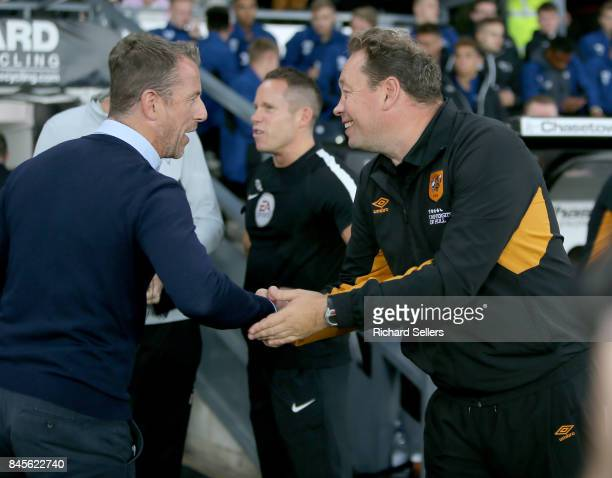 Derby County manager Gary Rowett and Hull City Head coach Leonid Slutsky before the Sky Bet Championship match between Derby County and Hull City at...