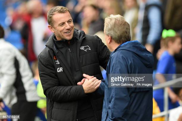 Derby County manager Gary Rowett shakes hands with Cardiff City manager Neil Warnock