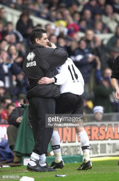 Derby County manager John Gregory congratulates goalscorer Lee Morris after he scored against Tottenham Hotspur during their FA Barclaycard...