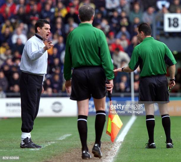 Derby County Manager John Gregory points the finger at the linesman as referee Rob Stiles sends the former Aston Villa manager off during their FA...