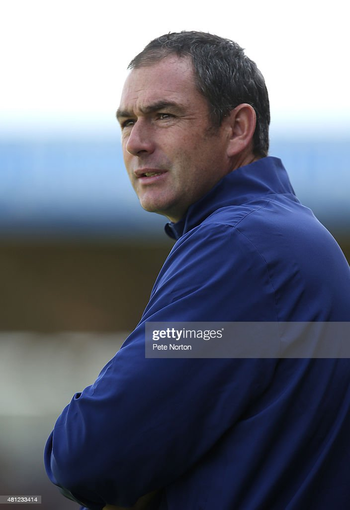 Derby County manager Paul Clement looks on during the Pre-Season Friendly match between Northampton Town and Derby County at Sixfields Stadium on July 18, 2015 in Northampton, England.