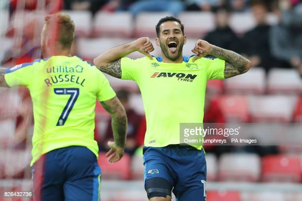 Derby County's Bradley Johnson celebrates scoring his side's first goal of the game during the Sky Bet Championship match at the Stadium of Light