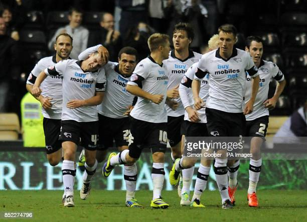 Derby County's Craig Bryson celebrates scoring his sides fourth goal of the game during the Sky Bet Championship match at Pride Park Derby