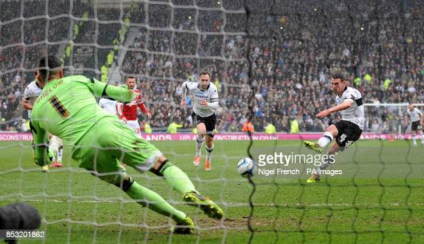 Derby County's Craig Bryson scores his third and his sides fifth goal of the game during the Sky Bet Championship match at the iPro Stadium Derby