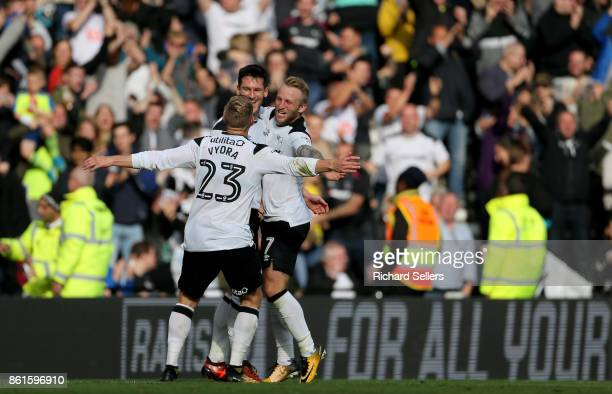 Derby County's David Nugent celebrates his goal with Johnny Russell and Matej Vydra during the Sky Bet Championship match between Derby County and...