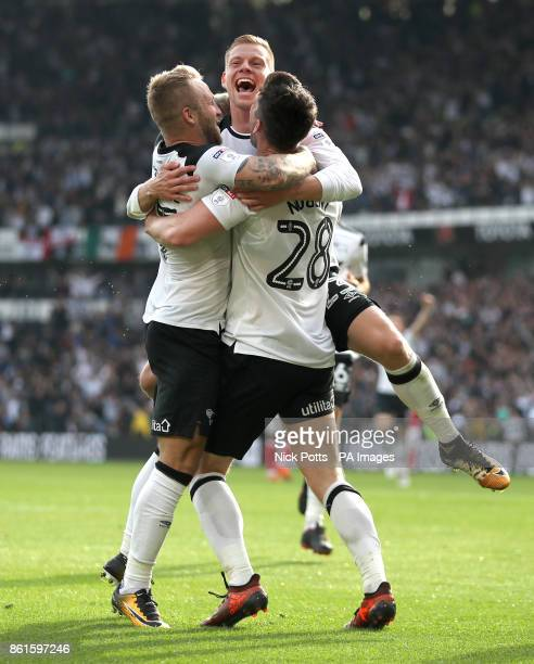 Derby County's David Nugent celebrates scoring his side's second goal of the game with team mates Derby County's Matej Vydra and Derby County's...