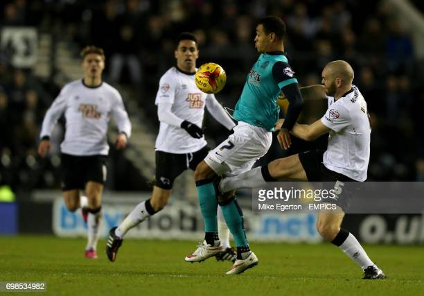 Derby County's Jake Buxton and Blackburn Rovers' Josh King