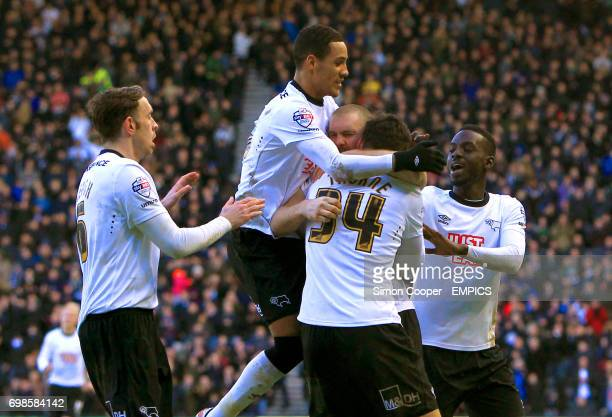Derby County's Jake Buxton celebrates scoring his sides first goal of the game