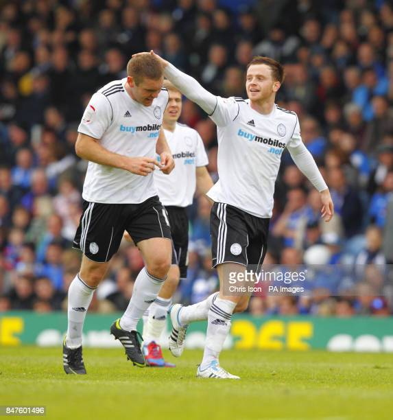 Derby County's Jake Buxton celebrates scoring his sides opening goal during the npower Championship match at Fratton Park Portsmouth