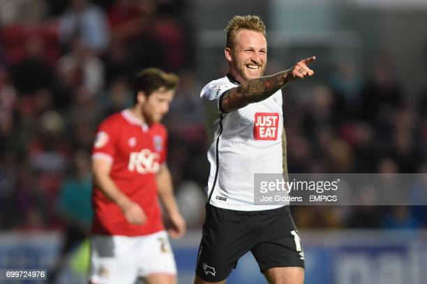 Derby County's Johnny Russell celebrates his goal