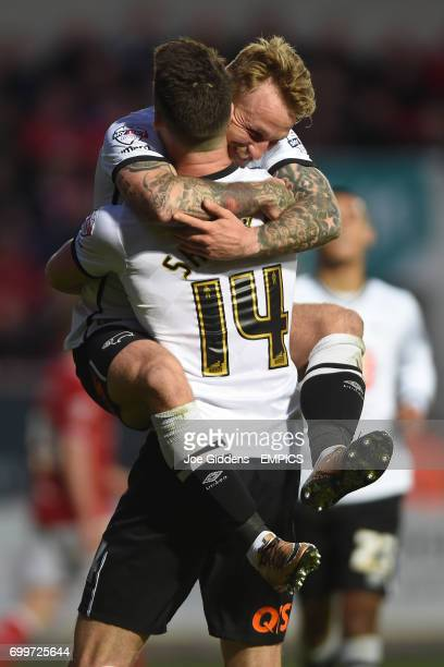 Derby County's Johnny Russell celebrates his goal with Jason Shackell