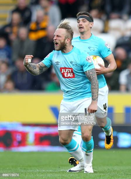Derby County's Johnny Russell celebrates scoring his side's first goal of the game