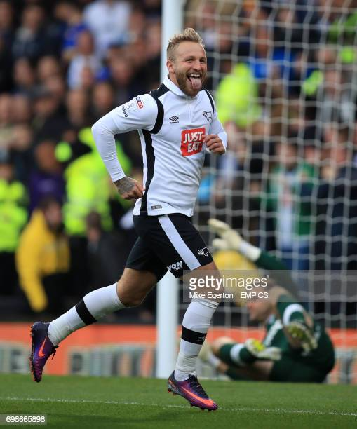 Derby County's Johnny Russell celebrates scoring their first goal