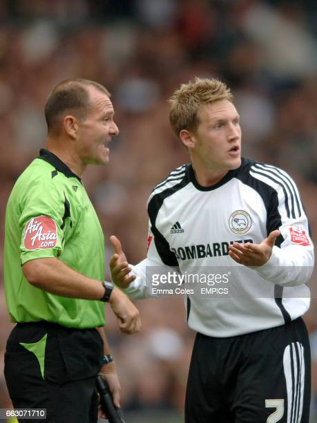 Derby County's Kris Commons has words with the linesman after Doncaster Rovers' Lewis Guy scores the first goal