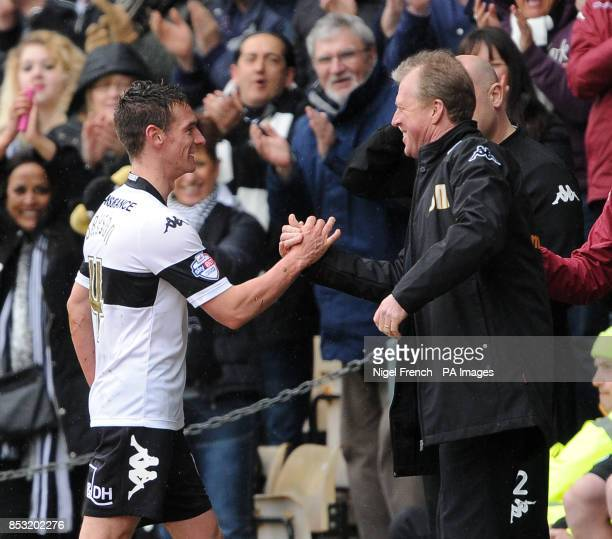 Derby County's Manager Steve McLaren congratulates Craig Bryson after his three goals against Nottingham Forest during the Sky Bet Championship match...