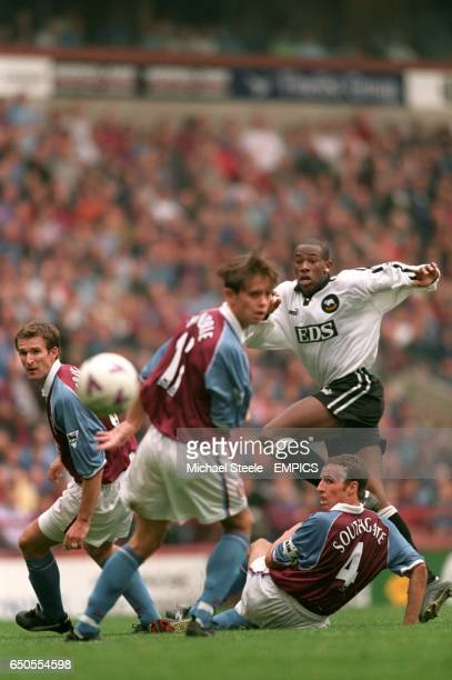 Derby County's Paulo Wanchope shoots past Aston Villa's Simon Grayson Lee Hendrie and Gareth Southgate