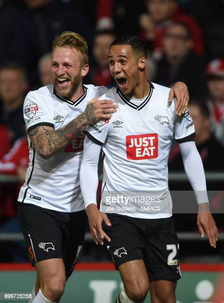 Derby County's Tom Ince celebrates scoring his teams third goal with Johnny Russell
