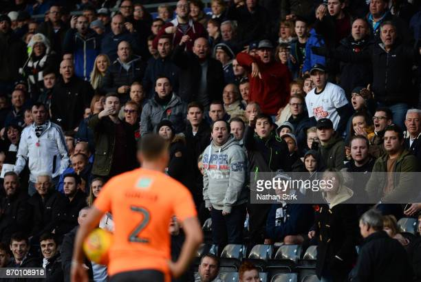 Derby fans chant at Chris Gunter of Reading during the Sky Bet Championship match between Derby County and Reading at iPro Stadium on November 4 2017...