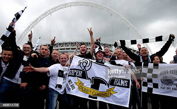 Derby fans make their way to the ground prior to the Sky Bet Championship Playoff Final match between Derby County and Queens Park Rangers at Wembley...