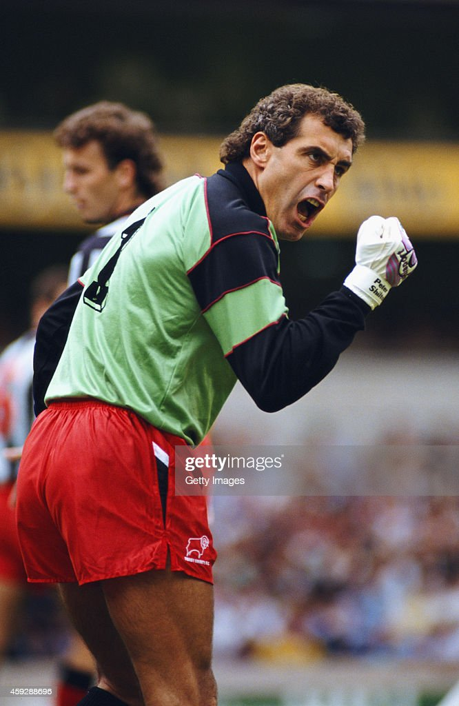 Derby goalkeeper <a gi-track='captionPersonalityLinkClicked' href=/galleries/search?phrase=Peter+Shilton&family=editorial&specificpeople=233478 ng-click='$event.stopPropagation()'>Peter Shilton</a> reacts during a League Division One match between Tottenham Hotspur and Derby County at White Hart Lane on September 8, 1990 in London, England.